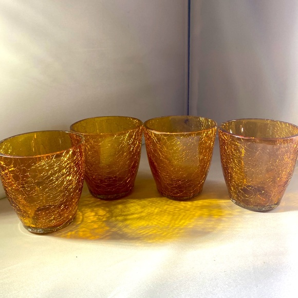 Beautiful Amber Crackle Glass Votives